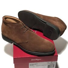 FERRAGAMO Brown Desert Boots 12 D 45 Men's Suede Leather Ankle Fashion Casual
