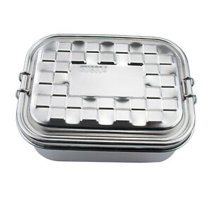 Stainless Steel Lunch Box 2Layer Food Storage Container Leak Proof Bento Box