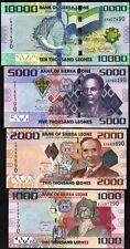Sierra Leone 4 Pcs SET 1000 2000 5000 10000 Leones,2013 2015, UNC, P-30 31 32 33