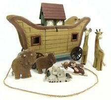 Noah's Ark Wooden Pull Toy Vintage With Animals