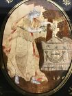 Antique English Petit-Point Woman Setting Flowers On Shakepear(es) Memorial Tomb