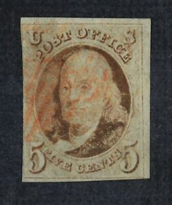 CKStamps: US Stamps Collection Scott#1 5c Franklin Used Lightly Crease Tiny Thin