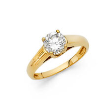 Solid Real 14k Yellow Gold Round CZ Solitaire Engagement Ring Comfort Fit Band