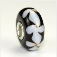 NEW Genuine Trollbeads Murano Glass Troll Bead 64604 Retired Black White