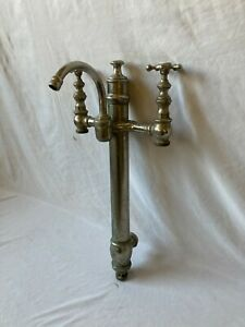 Antique Bathtub Tower standing Waste Gooseneck Faucet Nickel Brass Vtg 86-21