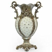 Silver Flower Jeweled Porcelain Vase Bowl Urn