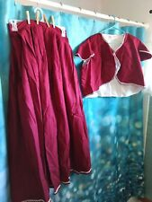 Vtg Grand Illusion Costume Colonial 2 Piece Dress Red Burgundy Reenactment