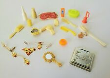 Barbie YELLOW ORANGE GOLD BATHROOM Scale Jewelry Hairdryer Accessories Clothes