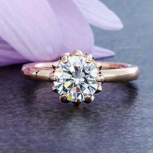 2.20 CT vvs1/d Brillant Rund Diamanten Verlobungsring Rose Sterling Silber