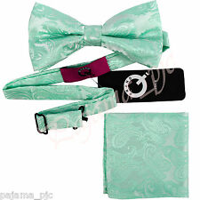 AQUA MINT GREEN Paisley Pre-tied Bow tie and Pocket Square Hanky Set Formal Prom