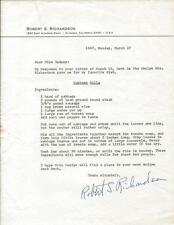 Robert Richardson Signed Typed 1967 Letter & Cabbage Rolls Recipe