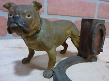 Antique BULLDOG Horseshoes Decorative Arts Figural Matchbook Holder Cold Painted