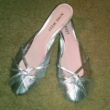 Womens Vintage Nine West Silver Leather Upper Slides Sexy Kitten Heel Sz 8.5