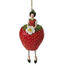 Blumenmädchen Fee Deko Figur Elfe Erdbeere hängend