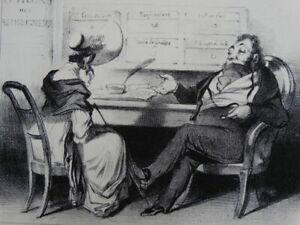 Macaire Geheimdienstoffizier - Lithographie Daumier Aubert - Satire Humor 1839