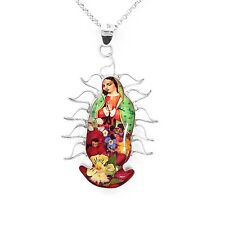 Sterling Silver Virgin of Guadalupe with Natural Flowers Pendant