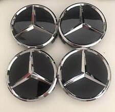 4 Logo Emblème Mercedes Jante Cache Moyeu Centre De Roue Insigne Noir 75mm.
