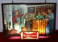 Rare Vintage 1950'S Budweiser Beer Hunter Upland / Bird Hunting Lighted Sign