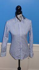 New Polo Ralph Lauren white blue sz 2 stripe top blouse button long sleev cotton