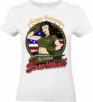 Always Remember American Bomba T-Shirt USA Pinup Bambina Donna Top