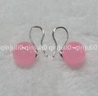 Natural 10mm round Pink Jade gemstone Beads silver Hook Dangle Earrings JE91