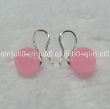 Natural 10mm round Pink Jade gemstone Beads silver Hook Dangle Earrings JE91
