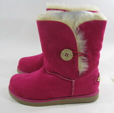 new  fuchsia/ gold button Winter warm flat ankle sexy boot  size 7
