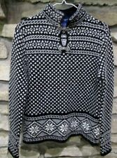 Charter Club Nordic Sweater Size S Black White Snowflakes Metal Clasps