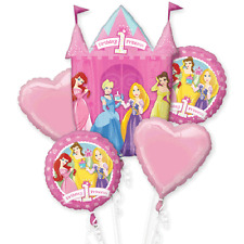 DISNEY PRINCESS 1ST BIRTHDAY PARTY SUPPLIES 5 HELIUM FOIL BALLOON BOUQUET