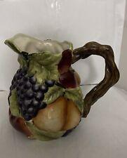 Vintage Ceramic Pitcher Fruit Design Handpainted