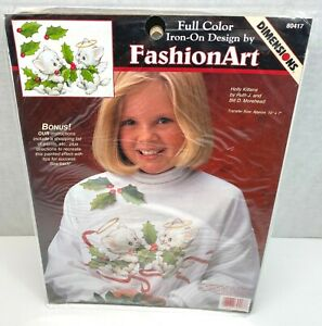 Dimensions Holly Kittens Full Color Iron On Design FashionArt NOS 1996