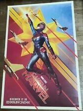 *RARE* CAPTAIN MARVEL Original 27x40 Double Sided DOLBY Movie Poster Brie Larson