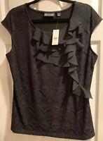 NEW NY&C 7th Avenue Design Studio Black Ruffle Lace Blouse, Size L, NWT