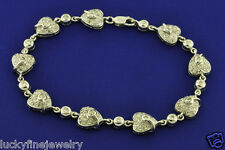 1.34 ct 18k White Gold Ladies Heart design Natural Diamond Bracelet 10.40 Grams