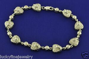 1.34 ct 18k White Gold Ladies Heart design Natural Diamond Bracelet 6.5 inches