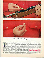 1964 Print Ad of Remington Core-Lokt Bullet 30 cal in the gun 72 cal in the game