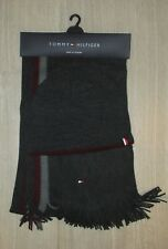 TOMMY HILFIGER Charcoal Gray FLAG WINTER SCARF + BEANIE CAP HAT Set MENS Cold