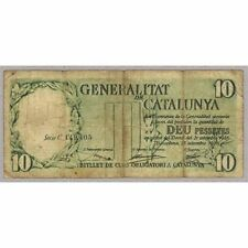 ESPAÑA BANCO DE LA GENERALITAT DE CATALUNYA CATALUÑA 10 pessetes pesetas BC 1936