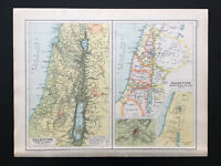 Antique Map Of Palestine Ancient & Modern Division 1906