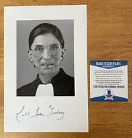 Ruth Bader Ginsburg Signed Autographed 6x9 Photo Beckett BAS Cert Supreme Court