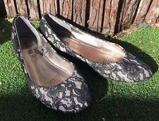 GirlXpress flat shoes silver/black size 8