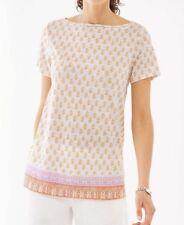 NWT J Jill Love Linen Sz M Portofino Linen Knit Tee Medallion Wood Block Print