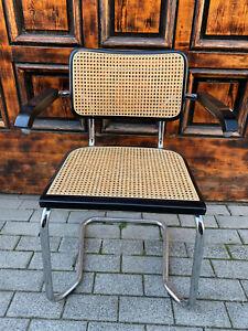 1/2 Freischwinger mit Wiener Geflecht Designer Stuhl Vintage