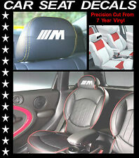 BMW M3 CAR SEAT DECALS / HEAD REST VINYL STICKERS/ GRAPHICS SET X 6 L@@k
