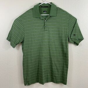 Nike Tiger Woods Collection Mens Green Fit Dry Striped Polo Shirt Size Large L