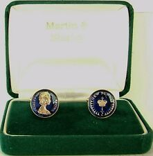 1979 Half Pence cufflinks from real coins in Blue &Gold