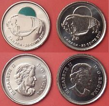 Brilliant Uncirculated 2011 Canada Bison Color & Plain 25 Cents From Mint's Roll