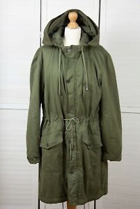 CALVIN KLEIN Green Quilted Drawstring Zip Knee Length Hooded Parka Coat Size L