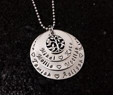 custom made  hand stamped stainless steel 3 tier washer tree of life pendant