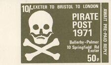 PIRATE POST 1971 10/- 50p EXETER TO BRISTOL TO LONDON CINDERELLA STAMP